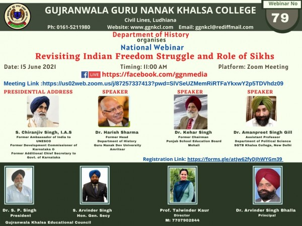 National Webinar on Revisiting Indian Freedom Struggle and Role of Sikhs