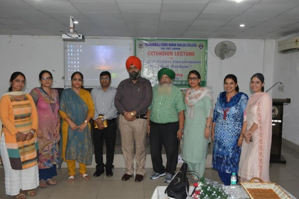 Extension Lecture organised by PG Department of Commerce
